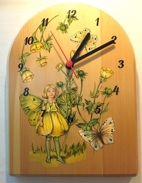 """Часы с росписью, """"Фея с бабочкой"""""""