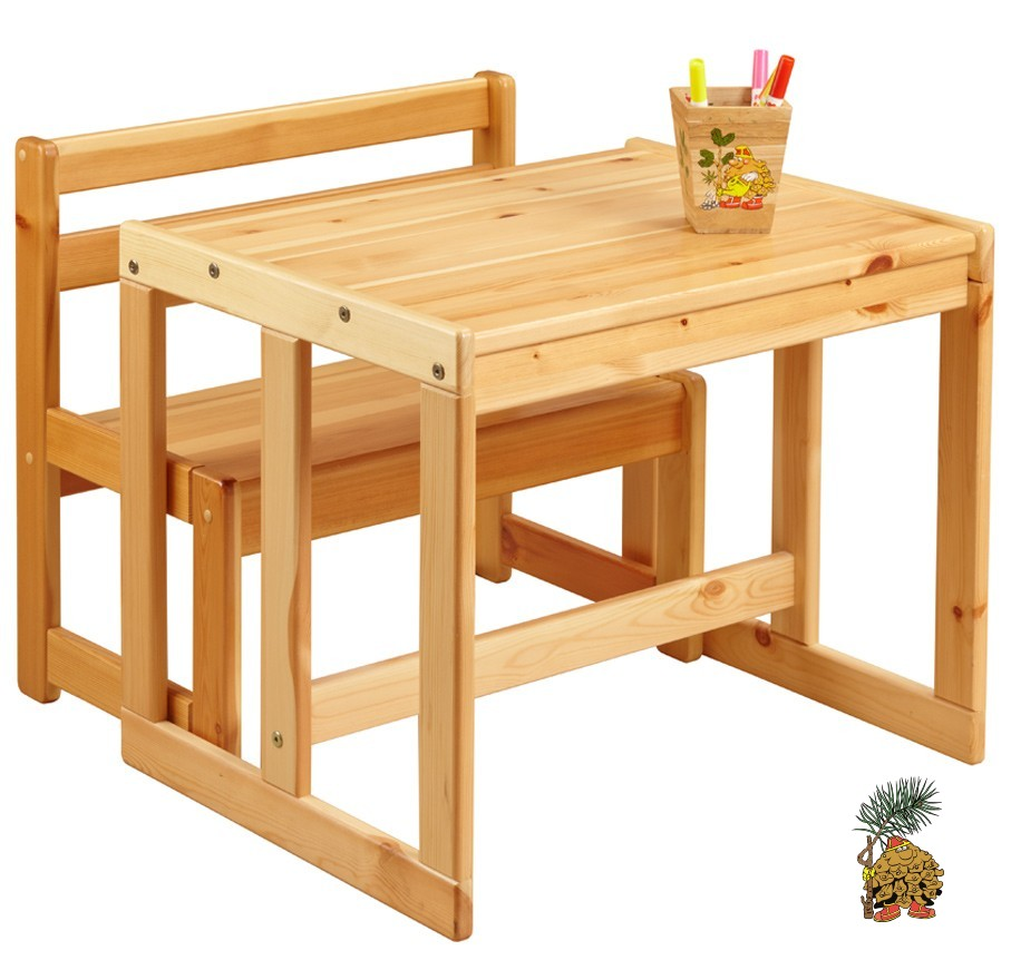 Скамейка со столиком для малышей из натурального дерева