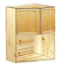 Шкаф навесной угловой с нишей под ТВ 2-х дверный