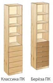 Узкий шкаф с 5-ю ящиками и открытыми полками