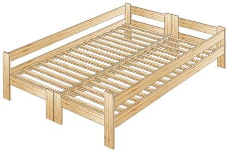 Двуспальная кровать с тремя спинками из массива сосны