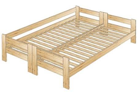 Двухспальная кровать с тремя спинками из массива