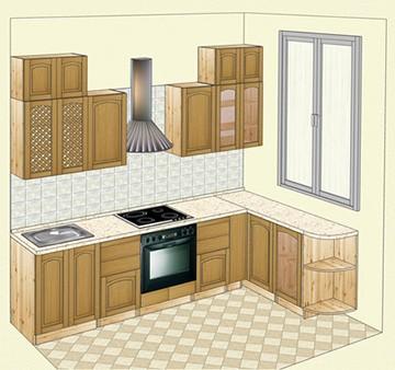 Кухня из сосны, фасады - массив дуба