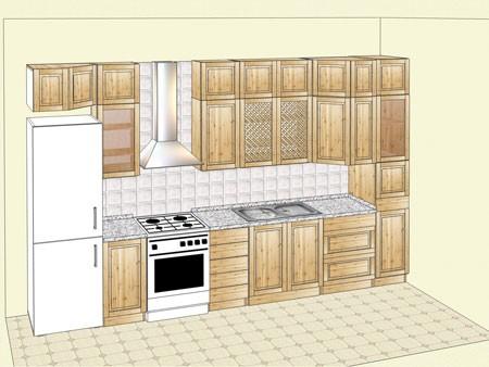 Кухня из массива карельской сосны, прямой вариант