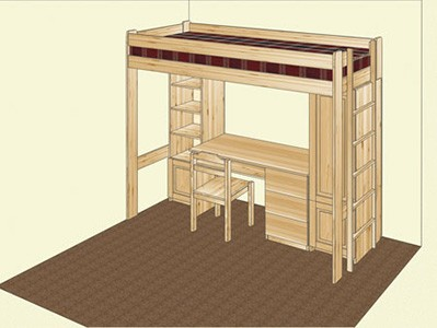 Кровать-чердак и рабочее место из сосны