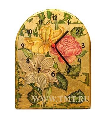 "Настенные часы с росписью ""Цветы"""
