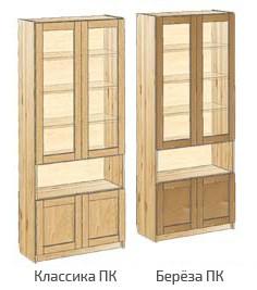 Книжный шкаф с дверьми и нишей в центре
