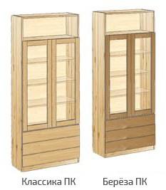 Шкаф с дверьми, 3-мя ящиками и нишей вверху