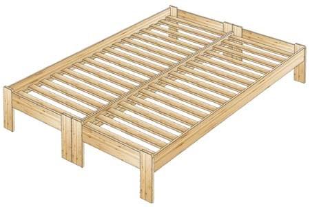 Двуспальная кровать без спинок из дерева