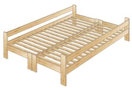 Двуспальная кровать из сосны с боковыми спинками
