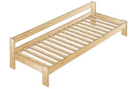 Односпальная кровать из сосны с одной спинкой