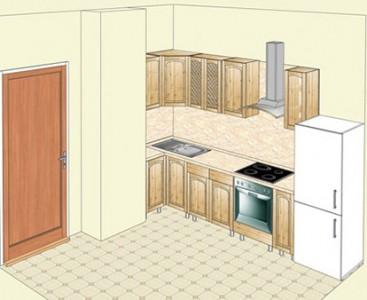 Кухня из массива сосны, угловой вариант