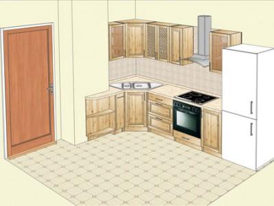 Кухня из  сосны, угловой вариант