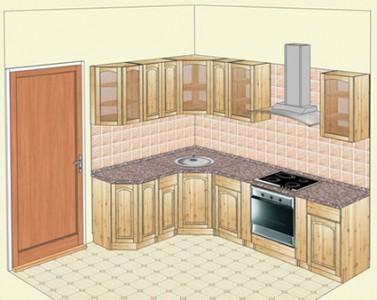 Кухня из карельской сосны, угловой вариант