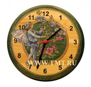 """Часы """"Эльф с цветами"""", роспись по дереву"""