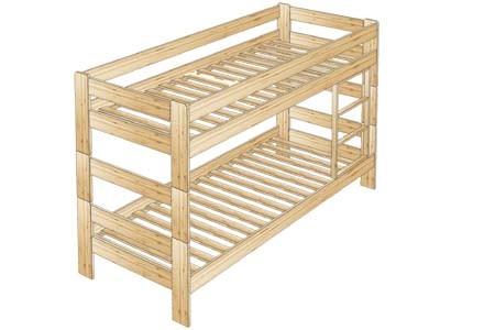 Кровать двухъярусная № 58 с вкладной лестницей